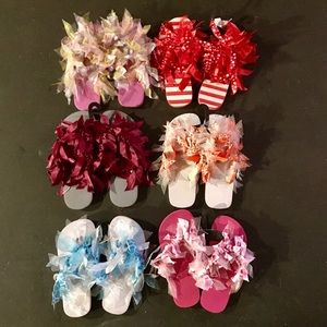 New flip flops with ribbons & bows adorable S M L